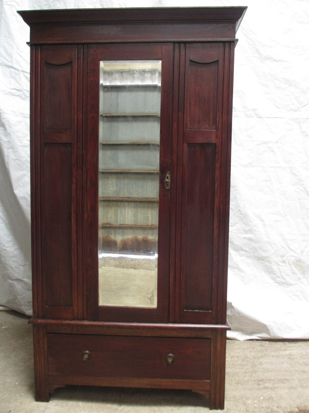 Victorian / Edwardian Oak Single Mirror Door Wardrobe With Drawer Pertaining To Newest Victorian Wardrobes (View 10 of 15)