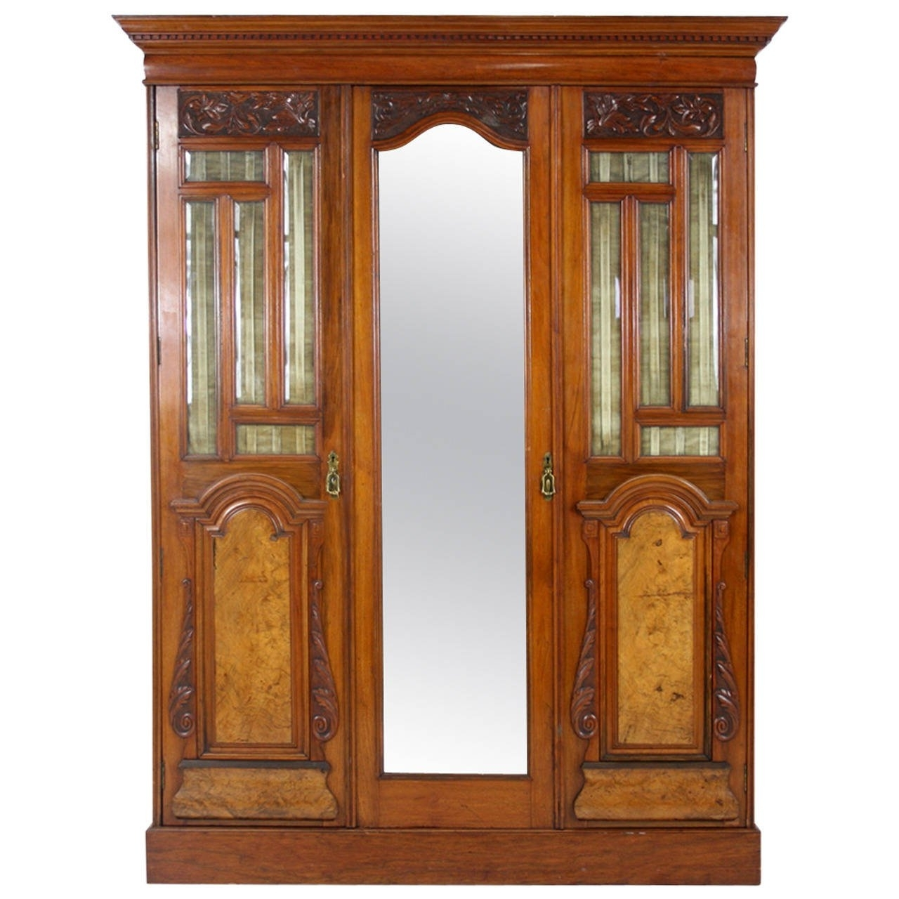 Victorian Walnut 3 Door Wardrobe Cupboard Armoire With Mirror At Inside Famous Wardrobes 3 Door With Mirror (View 12 of 15)