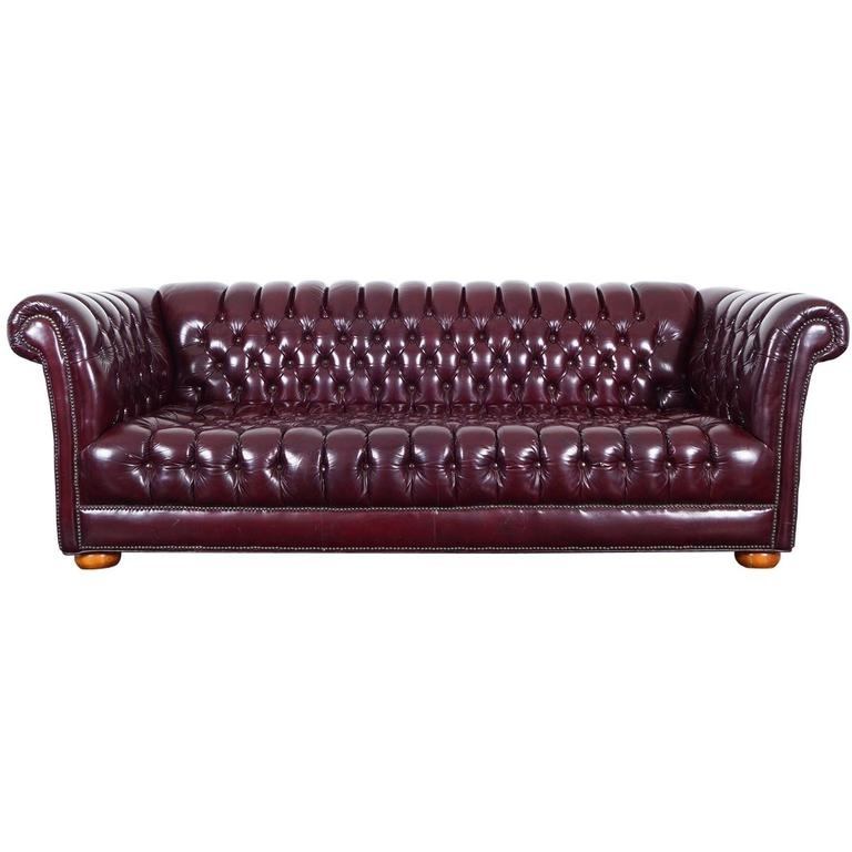 Vintage Burgundy Leather Chesterfield Sofa For Sale At 1Stdibs With Regard To Well Liked Leather Chesterfield Sofas (Gallery 7 of 10)
