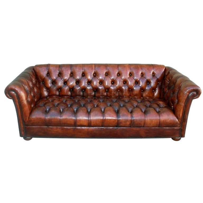 Vintage Leather Tufted Chesterfield Style Sofa C (View 5 of 10)