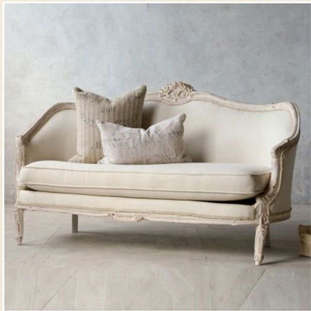 Vintage Pink White Oval Canape In Louis Xv Style French Furniture In Famous Shabby Chic Sofas (View 9 of 10)