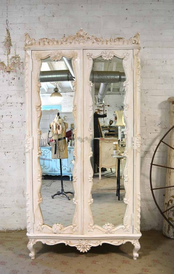 Vintage Shabby Chic Wardrobes In Most Recently Released Vintage Mirrors. Drawn Bugs Ornate Mirror  (View 10 of 15)