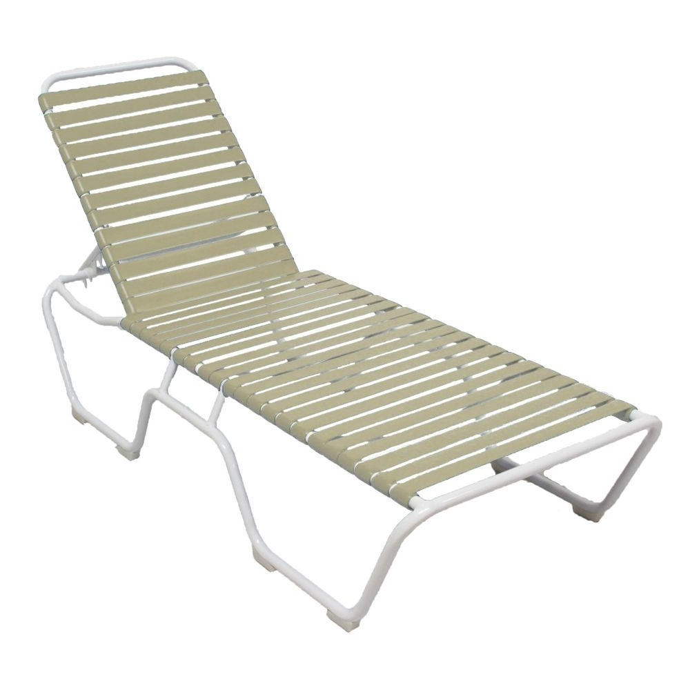 Vinyl Outdoor Chaise Lounge Chairs Throughout Favorite Marco Island White Commercial Grade Aluminum Vinyl Strap Outdoor (Gallery 1 of 15)