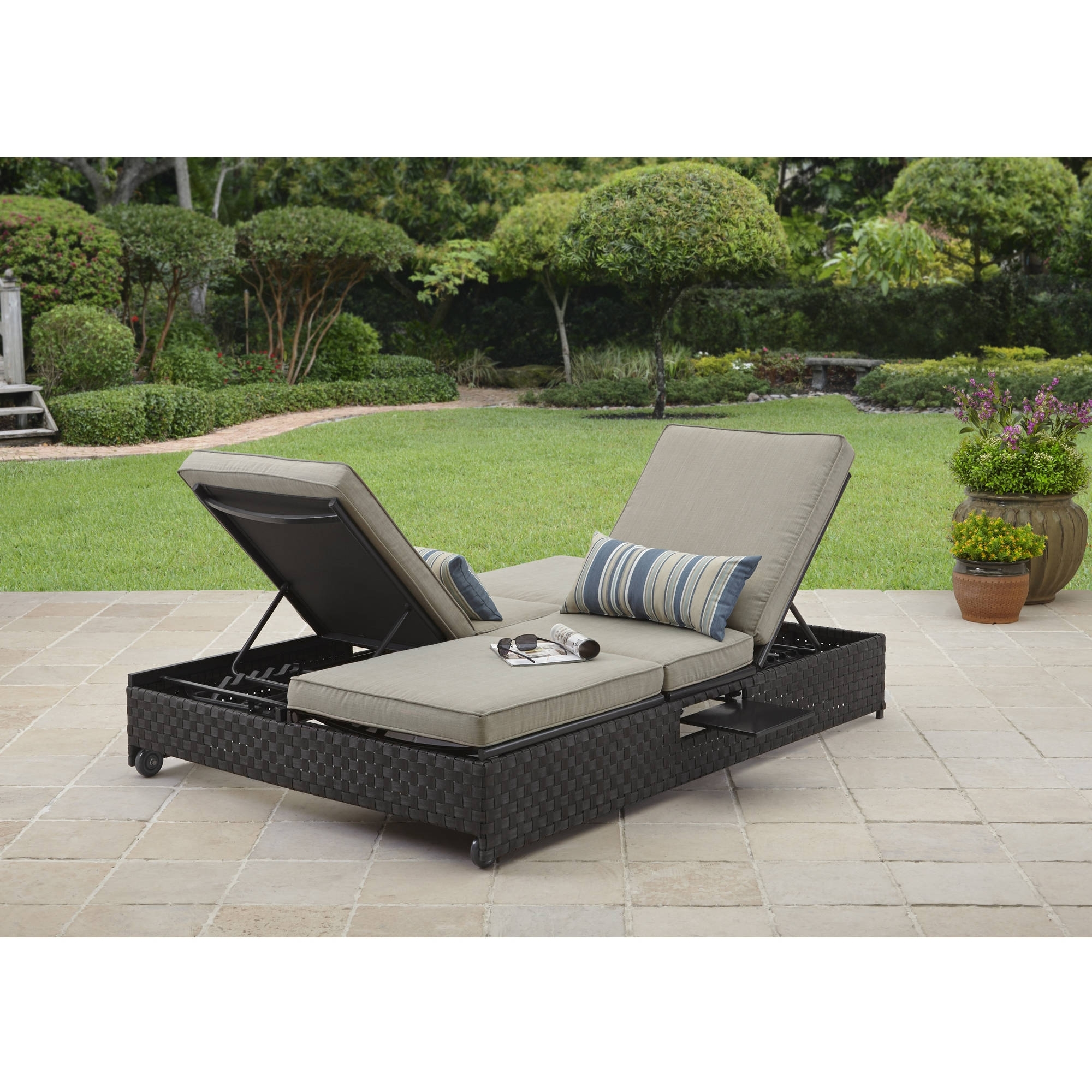 Walmart Outdoor Chaise Lounges In Popular Better Homes And Gardens Avila Beach Double Lounger/sofa – Walmart (View 11 of 15)