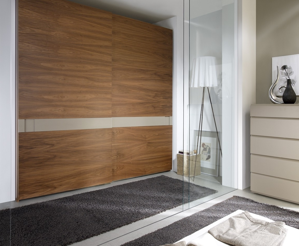 Wardrobe W/sliding Doors, American Walnut + Sand Buy Online At With Most Up To Date Walnut Wardrobes (View 14 of 15)