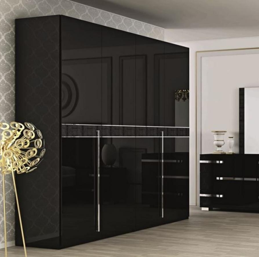 Wardrobes 4 Doors With Regard To Newest Fame, A 4 Door Wardrobe In Black Gloss, Opt (View 15 of 15)