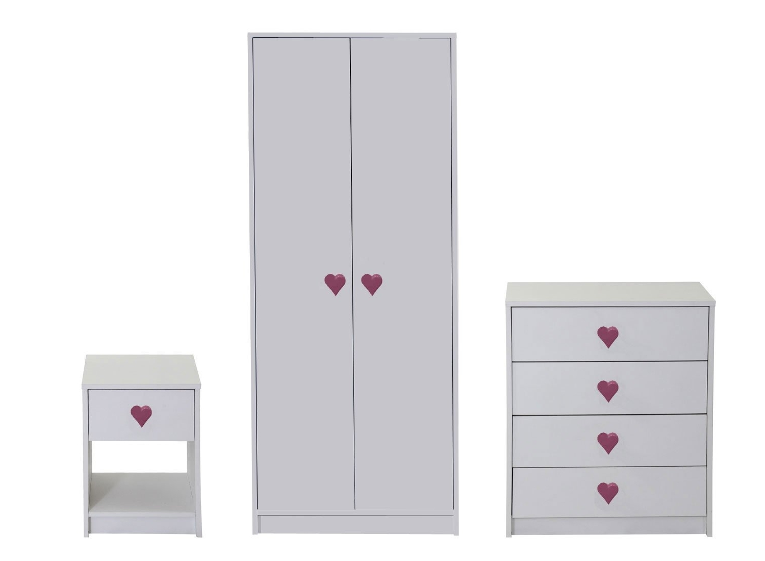 Wardrobes And Chest Of Drawers Combined Intended For Widely Used Devoted2Home Hearts Children's Bedroom Furniture Set With Wardrobe (View 12 of 15)