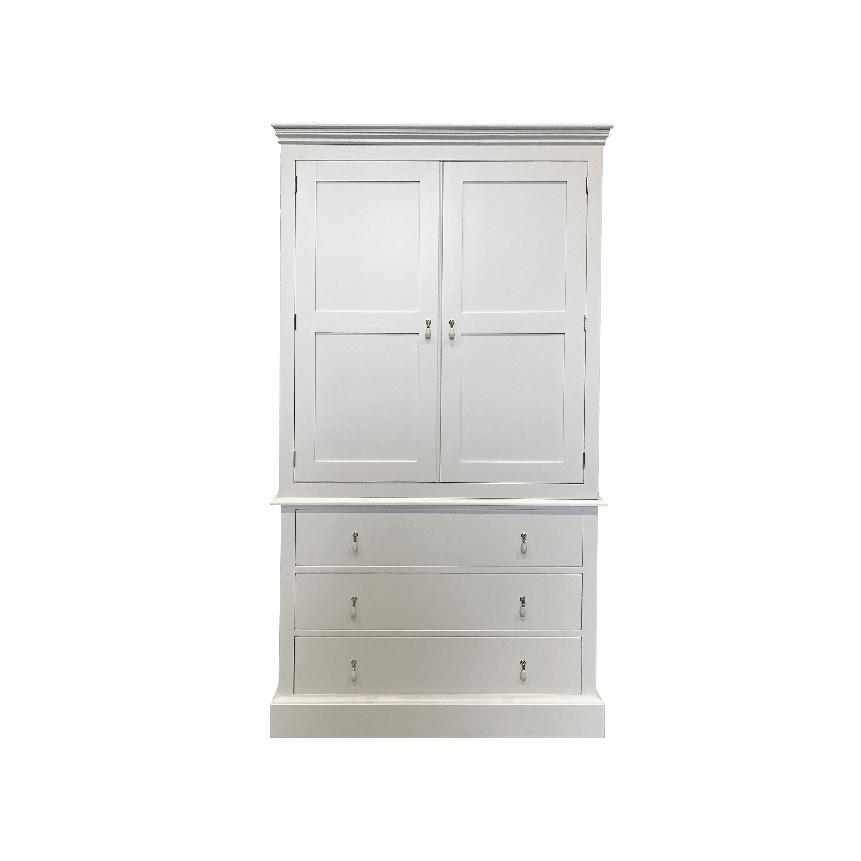 Wardrobes Chest Of Drawers Combination Inside Favorite 3 Drawer Double Combination Wardrobe – Wimborne White – Kensington (View 10 of 15)