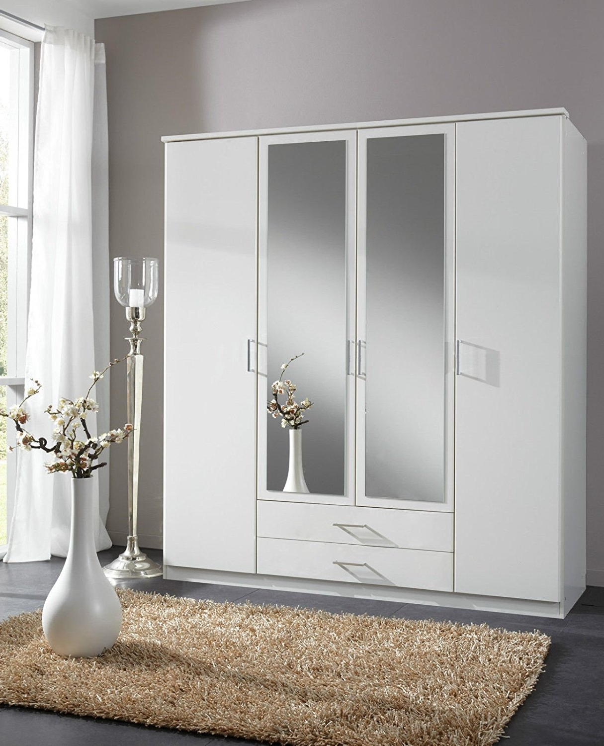 Wardrobes With 4 Doors Intended For 2018 German Berlin White 4 Door Mirror Door Wardrobe: Amazon.co (View 11 of 15)