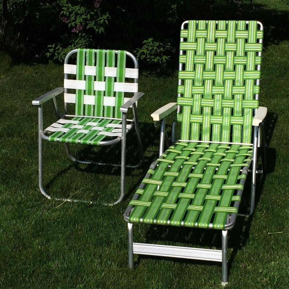 Web Chaise Lounge Lawn Chairs Pertaining To Preferred Vintage Green Webbed  Web Cushion Aluminum Folding Chaise