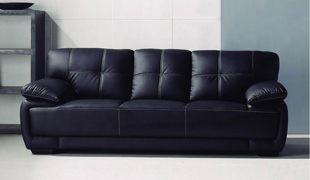 Well Known 3 Seater Leather Sofas Regarding Romeo 3 Seater Black Leather Sofa – Classic Comfort – Delux Deco (View 15 of 15)