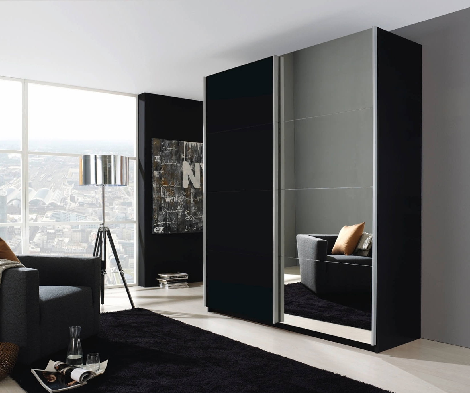 Well Known Black Sliding Wardrobes With Regard To Rauch Furniture (View 5 of 15)