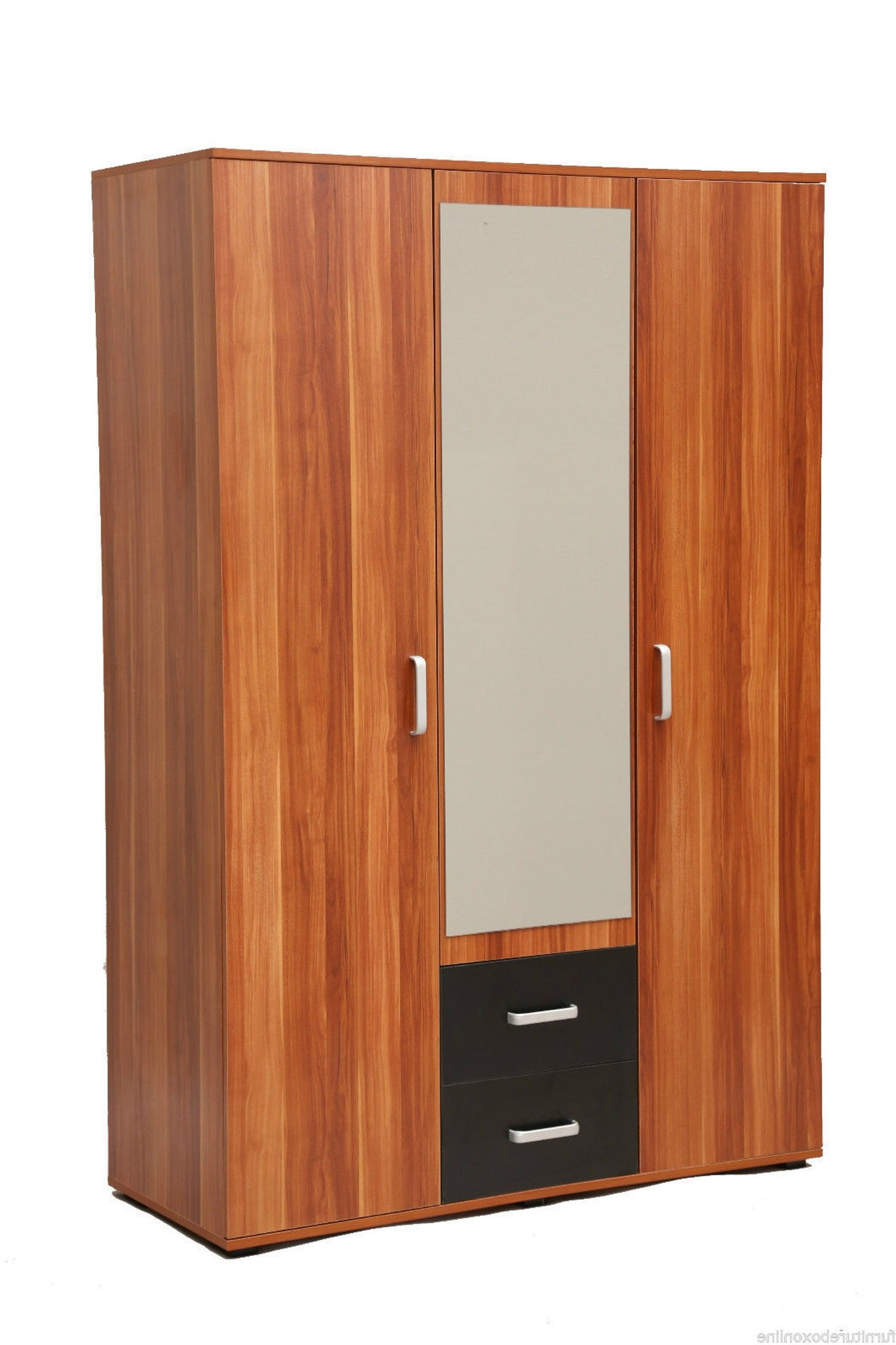 Well Known Boston Walnut 3 Door 2 Drawer Mirror Wardrobe (View 14 of 15)