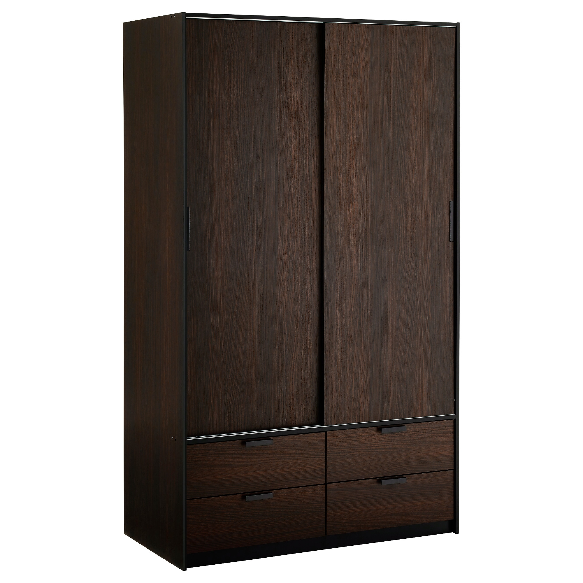 Well Known Brown Wardrobes Intended For Trysil Wardrobe W Sliding Doors/4 Drawers – Ikea (View 15 of 15)