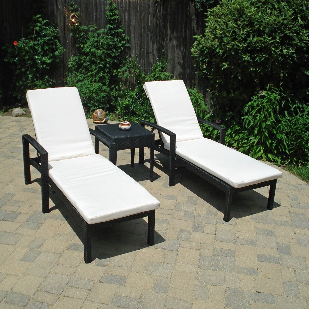 Well Known Caicos Chaise Lounge Set In Black Wicker With Ivory Cushions For Outdoor Double Chaises (View 15 of 15)
