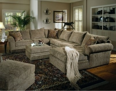 Well Known Chenille Fabric Oversized Sectional Sofa With Matching Ottoman Pertaining To Sectional Sofas With Oversized Ottoman (View 5 of 10)