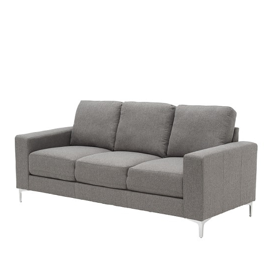 Well Known Contemporary 3 Seater Sofa In Grey With Metal Legs Regarding Modern 3 Seater Sofas (View 10 of 10)
