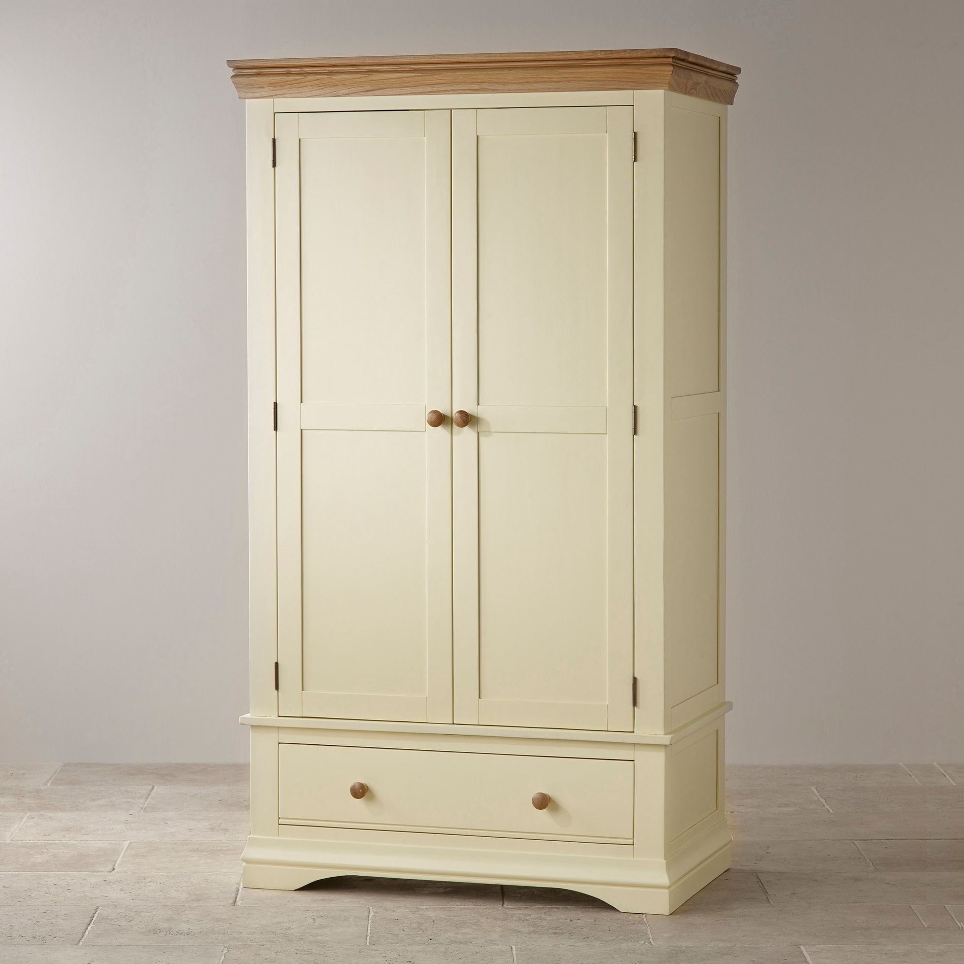 Well Known Country Cottage Painted Double Wardrobe In Natural Oak Regarding Double Wardrobes (View 2 of 15)