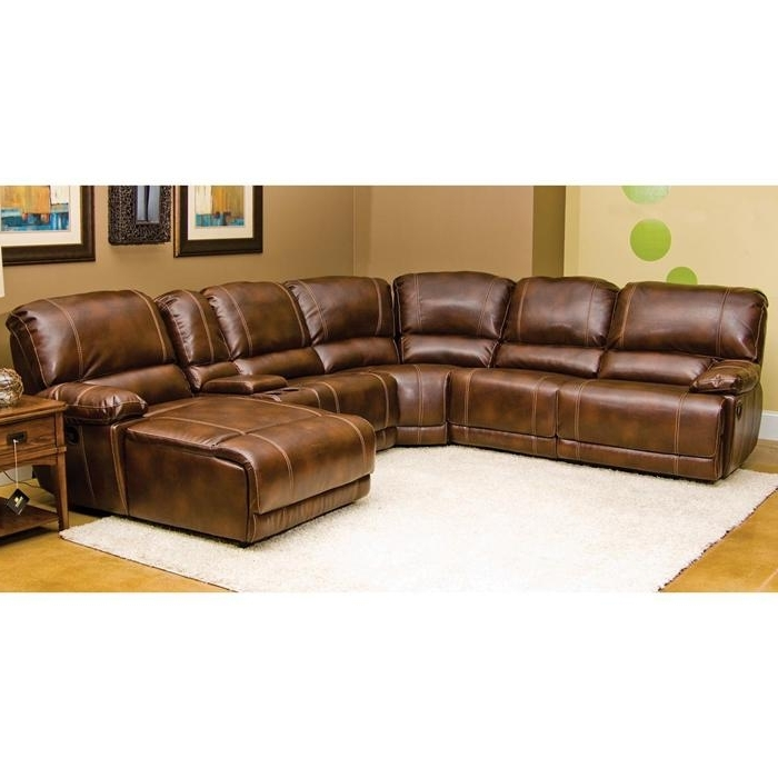 Attractive Well Known Darius 7 Piece Sectional In Hudson Merlot Bonded Leather  Pertaining To 6 Piece Leather