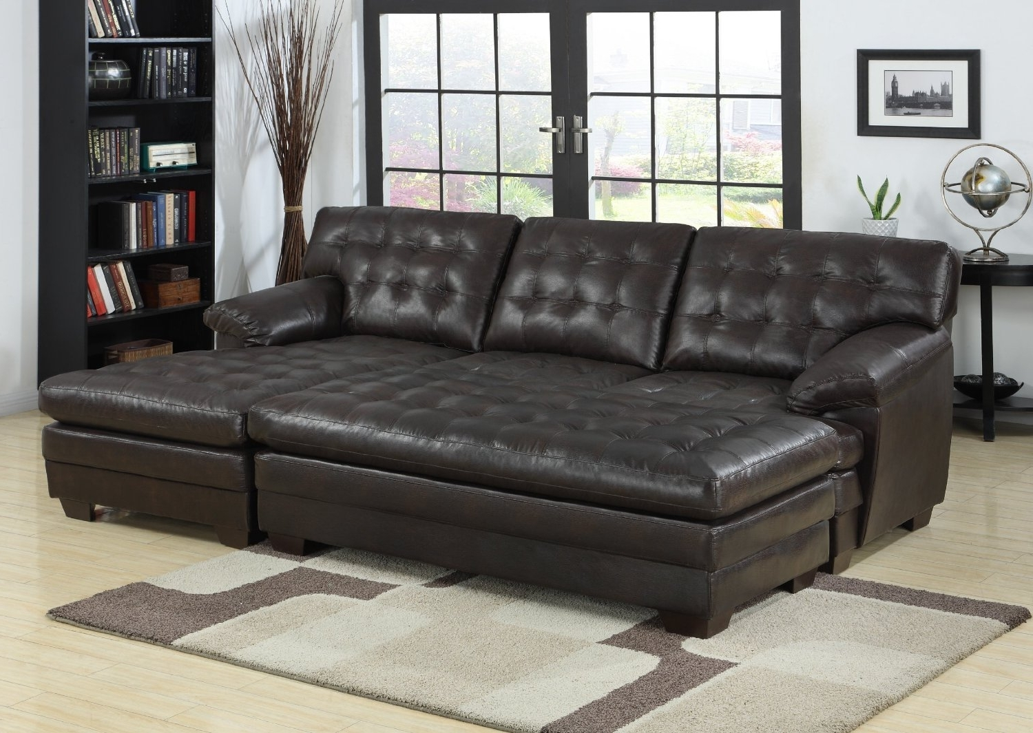 Well Known Double Chaise Lounge Sofa Image Gallery — The Home Redesign : The With Regard To Leather Chaise Lounge Sofas (View 14 of 15)