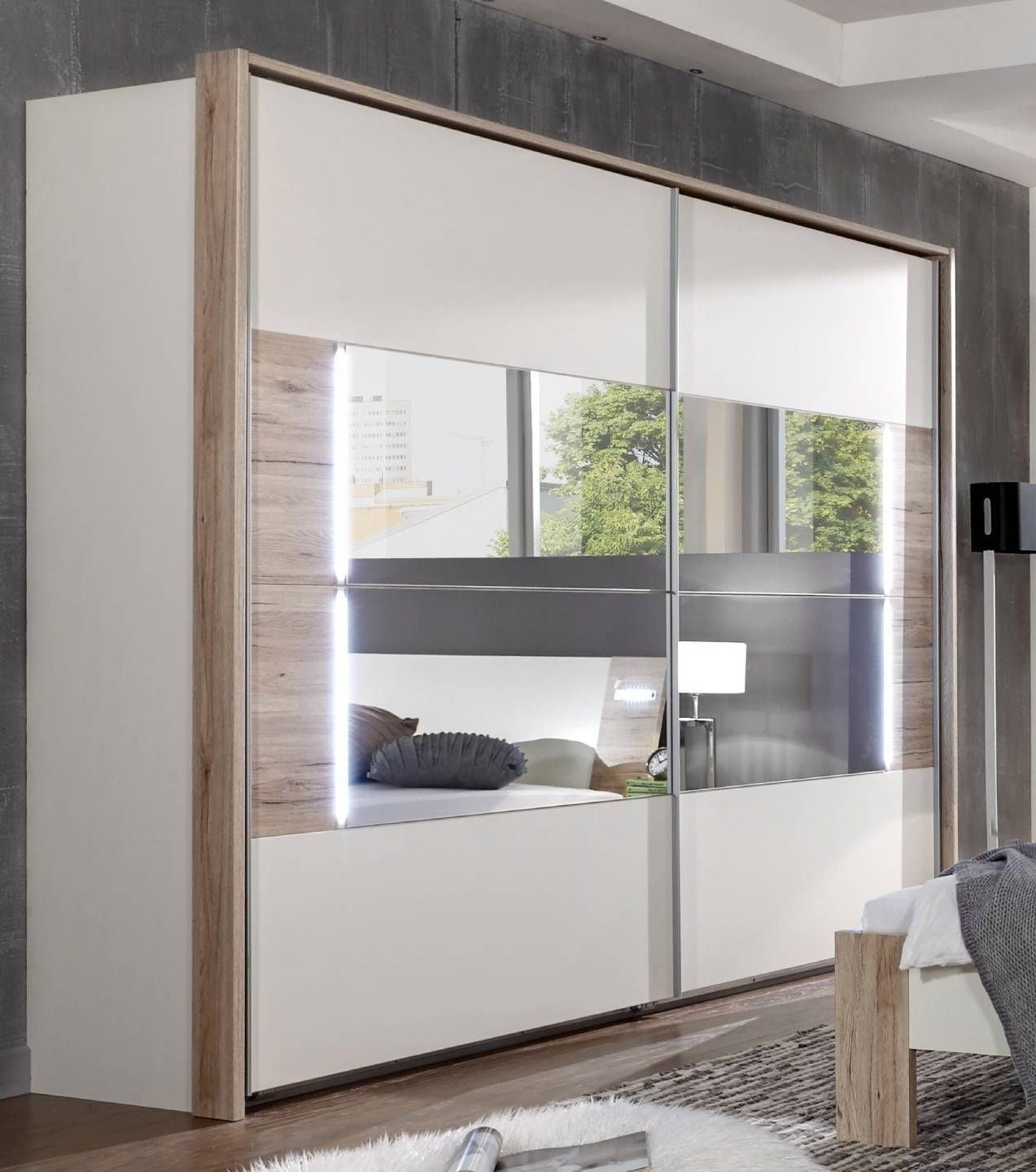 Well Known German Downtown White & Oak 270cm Sliding Door Mirrored Wardrobe For Oak And White Wardrobes (View 11 of 15)