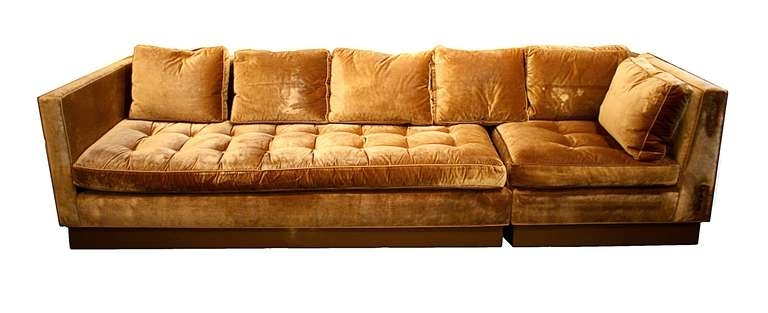 Well Known Gold Sectional Sofas Inside Custom Gold Silk Velvet Sectional Sofa, Usa 2000 At 1Stdibs (View 6 of 10)