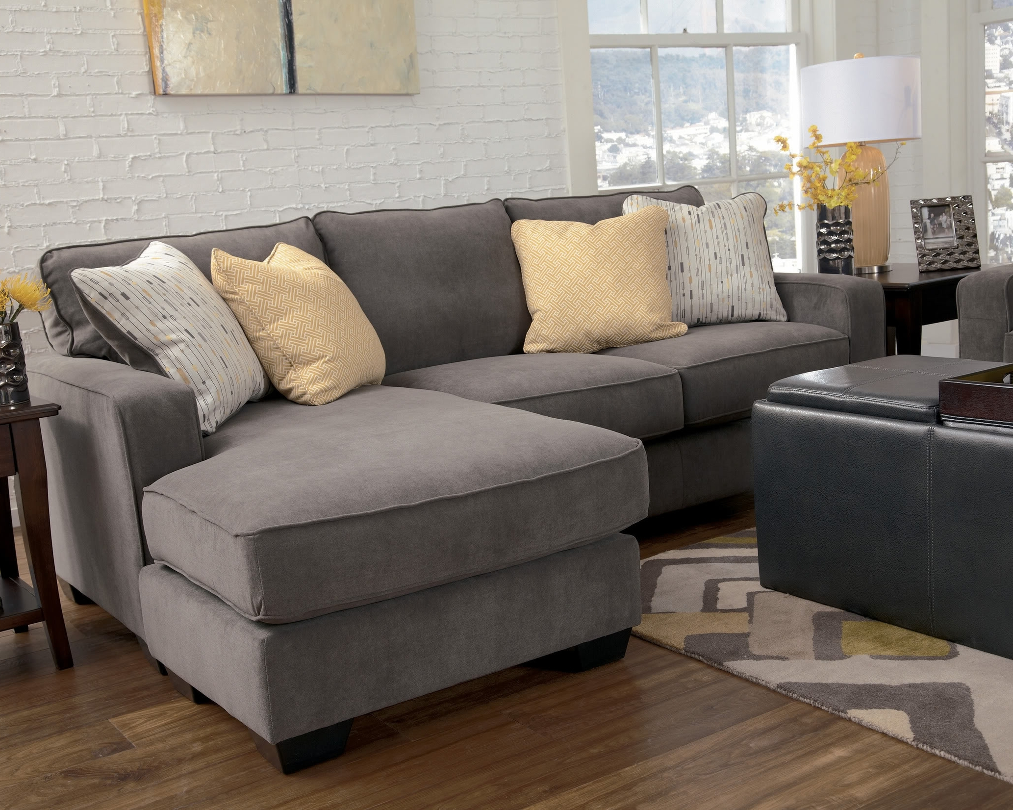 Well Known Grey Sofas With Chaise With Regard To Marble Contemporary Sofa Chaise Living Room Furniture Fabric (View 14 of 15)