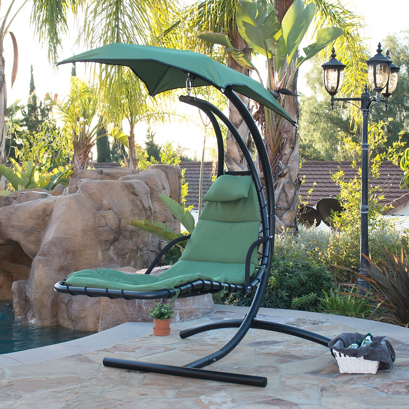 Well Known Hanging Chaise Lounge Chair Hammock Swing Canopy Glider Outdoor For Chaise Lounge Swing Chairs (View 6 of 15)