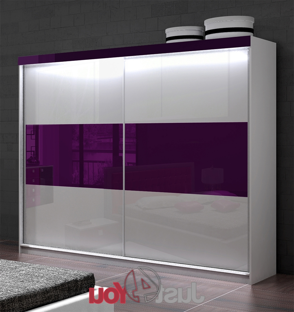 Well Known High Gloss Doors Wardrobes Throughout Wardrobe Mona Lisa With Led Lighting – Sliding Doors With High (View 3 of 15)