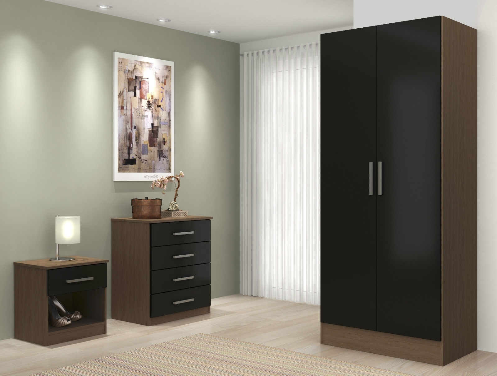 Well Known High Gloss Sliding Wardrobe Doors Wardrobes White Black That Can Throughout Wardrobes Sets (View 15 of 15)