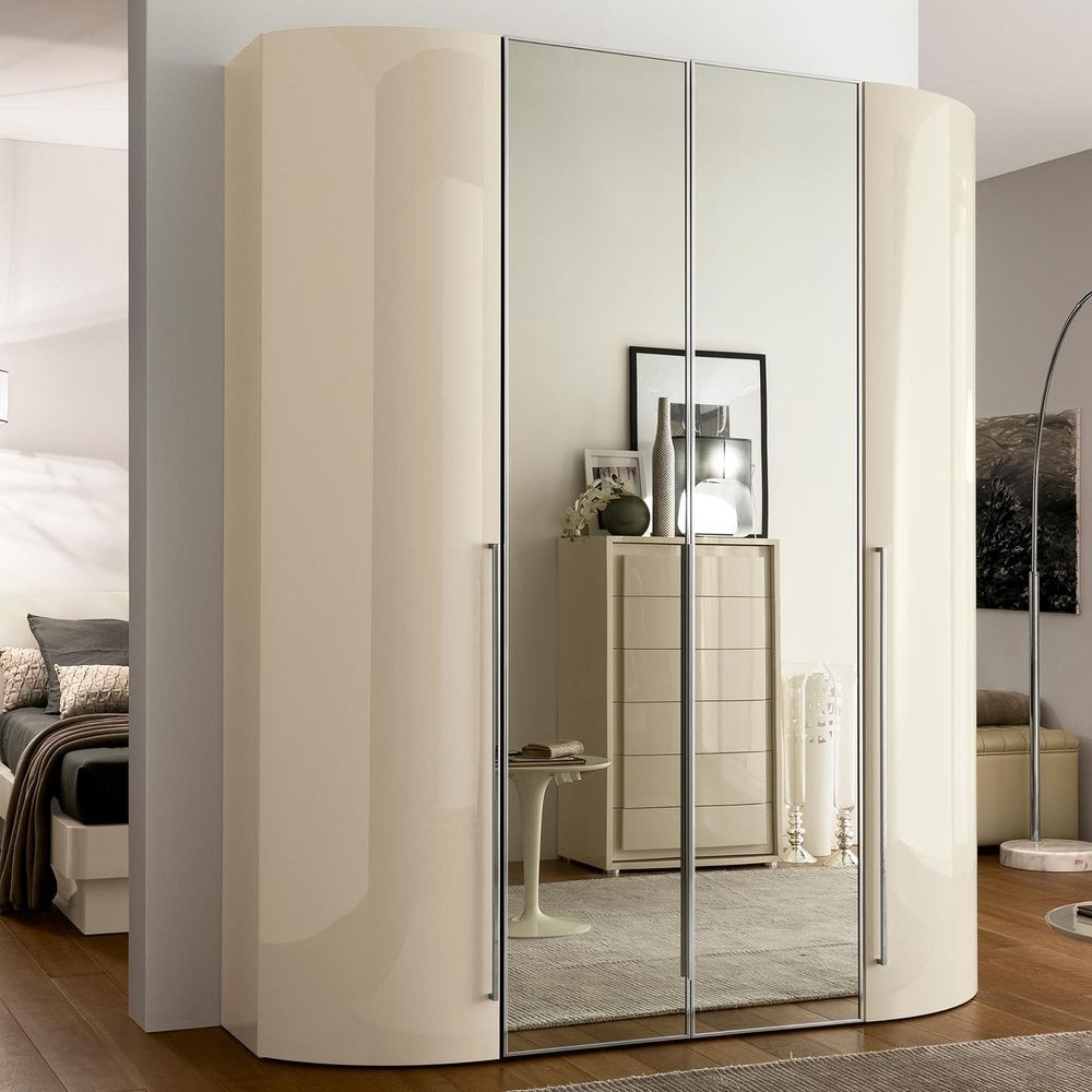 Well Known High Gloss White Hinged 4 Handles Wardrobes 2017 That Can Make Throughout Cream Gloss Wardrobes (View 14 of 15)
