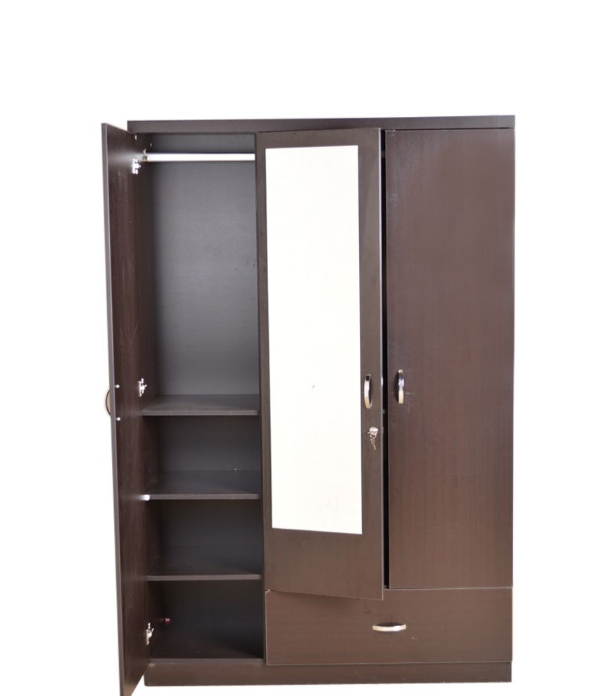 Well Known Hometown Utsav 3 Door Wardrobe With Mirror: Buy Online At Best Intended For 3 Doors Wardrobes With Mirror (View 15 of 15)