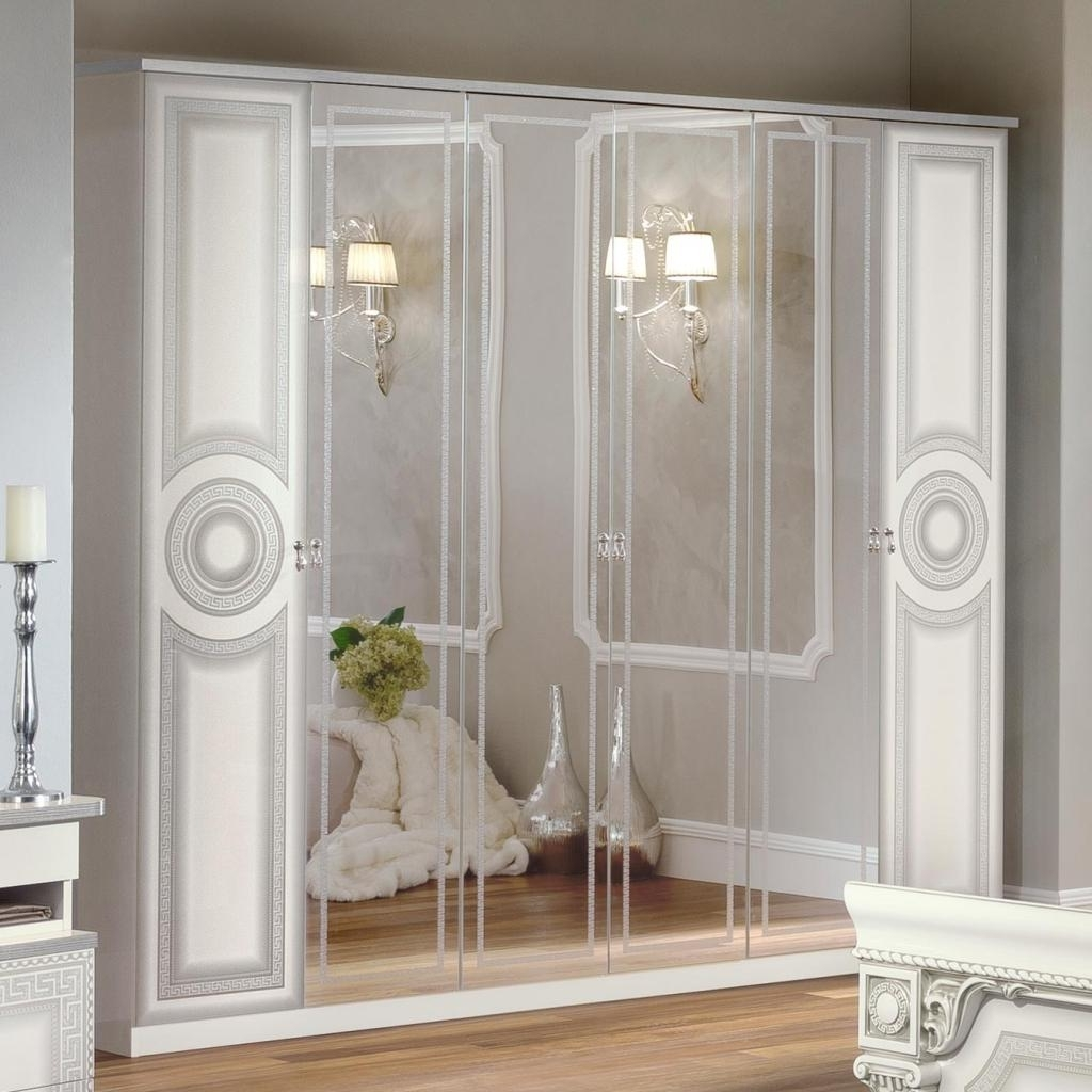 Well Known Italian Medusa White High Gloss & Silver 6Dr Mirrored Wardrobe With White Mirrored Wardrobes (View 9 of 15)