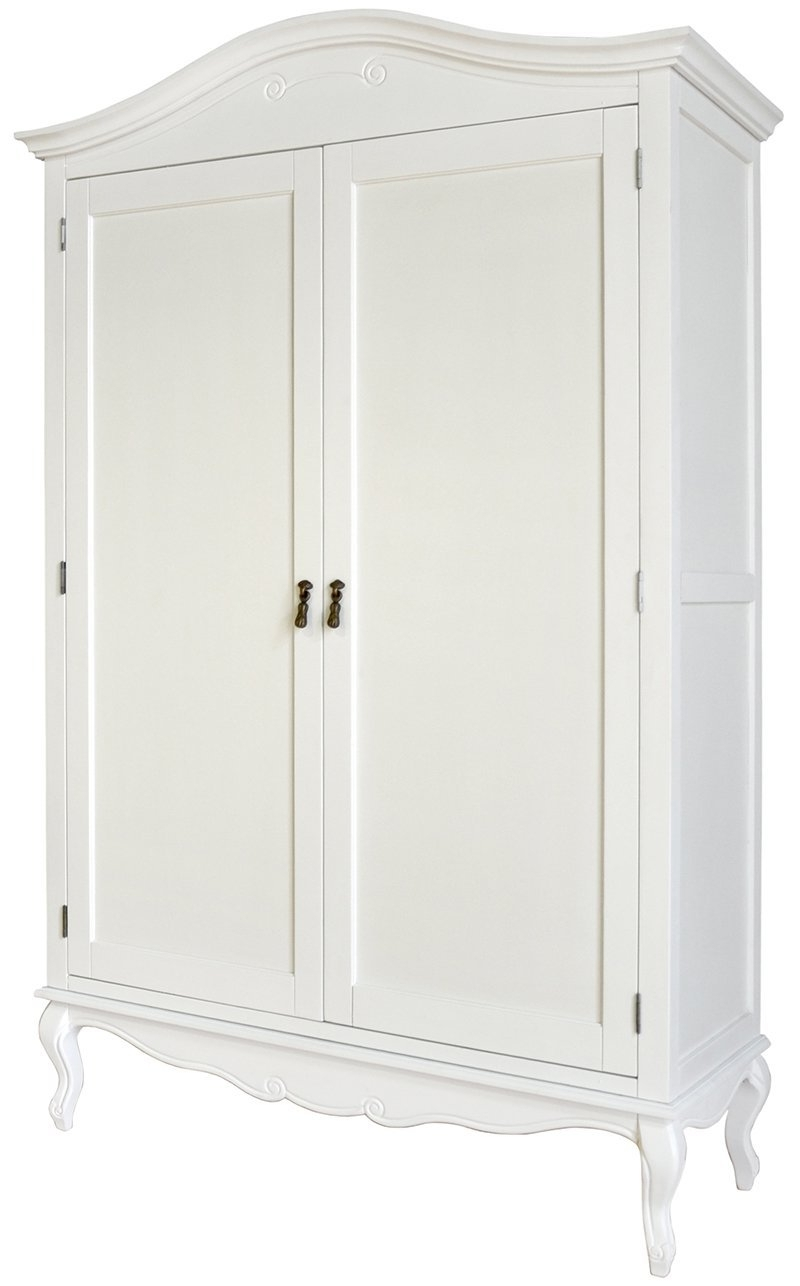 Well Known Juliette Shabby Chic Antique White Double Wardrobe (View 13 of 15)