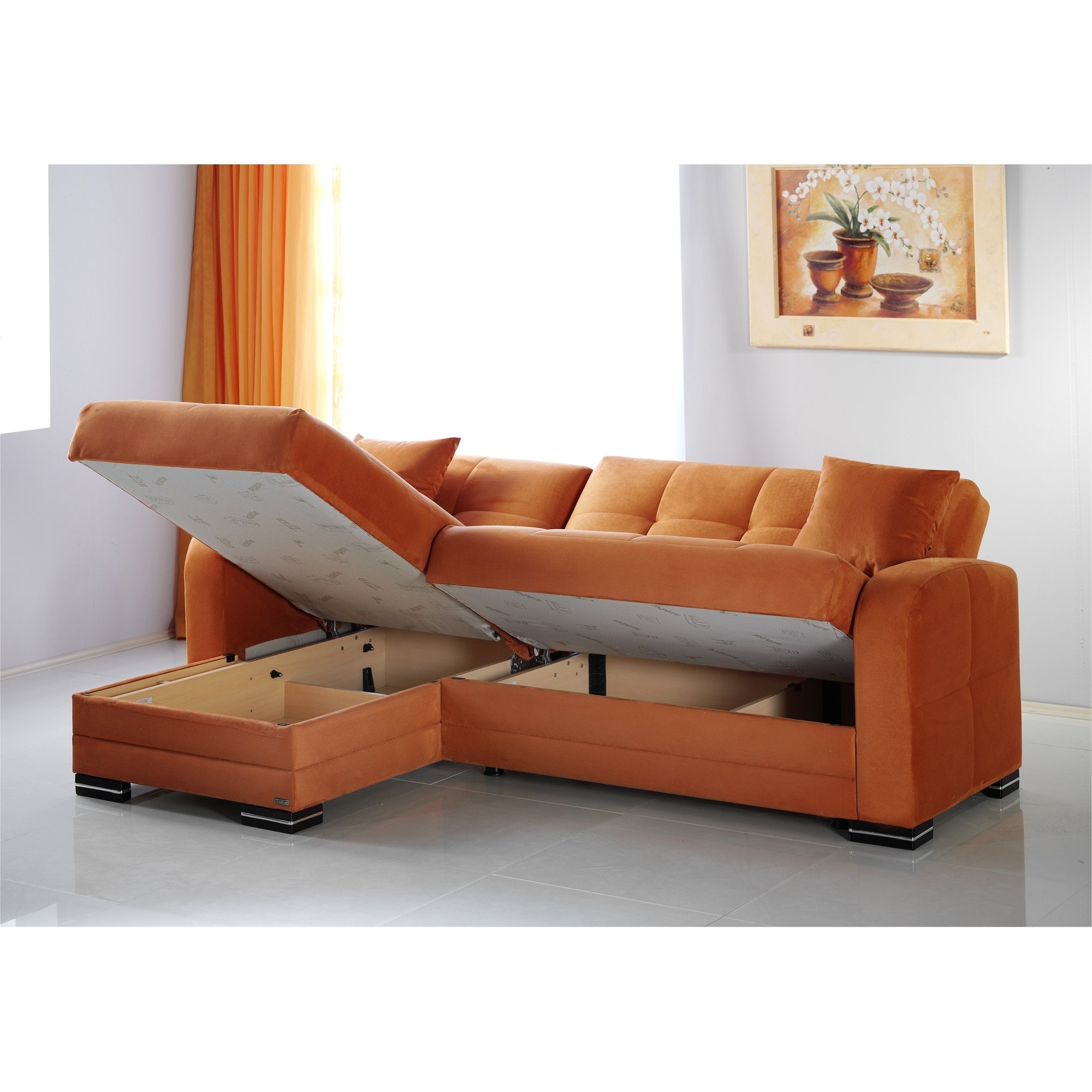 Well Known Kubo Rainbow Orange Sectional Sofasunset Within Reversible Chaise Sofas (View 13 of 15)