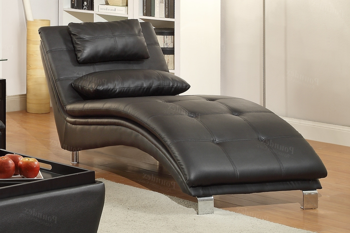 Well Known Leather Chaise Lounge Chairs Intended For Duvis Black Leather Chaise Lounge – Steal A Sofa Furniture Outlet (View 15 of 15)