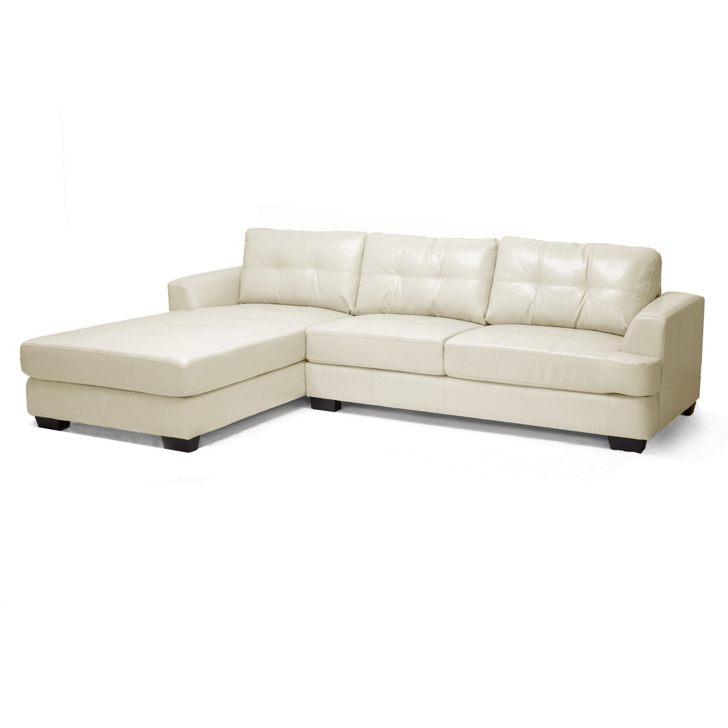 Well Known Leather Chaise Sofas With Amazon: Baxton Studio Dobson Leather Modern Sectional Sofa (View 13 of 15)
