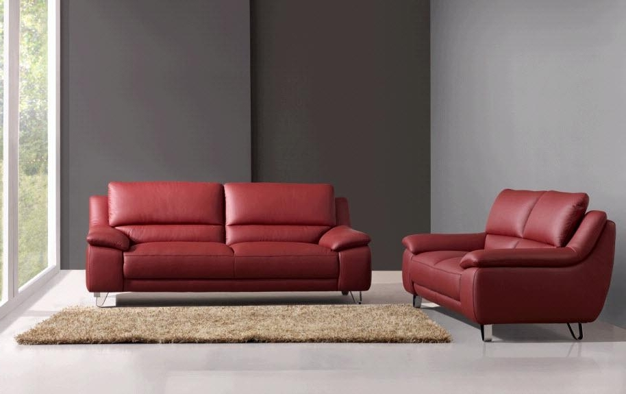 Well Known Leather Sofas And Loveseats And Poundex F Grey Leather Sofa And Intended For Red Leather Couches And Loveseats (View 5 of 10)