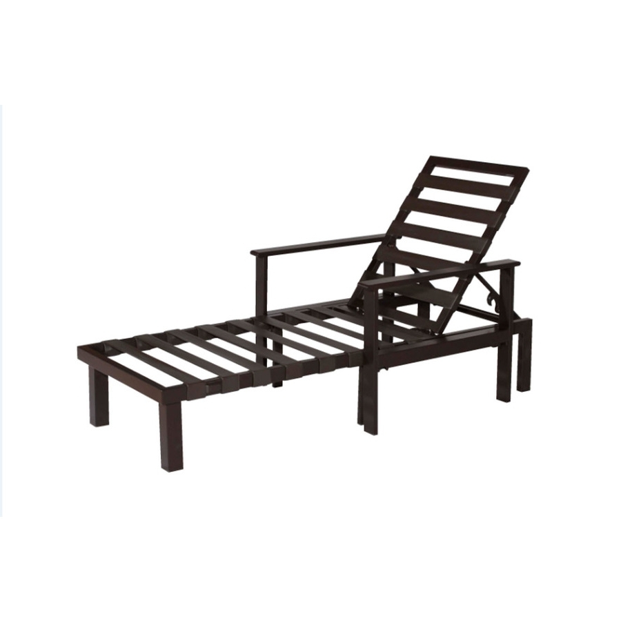 Well Known Lowes Outdoor Chaise Lounges Throughout Shop Allen + Roth Modular Slat Steel Patio Chaise Lounge At Lowes (View 15 of 15)