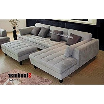 Well Known Modern Microfiber Sectional Sofas For Amazon: 3Pc Contemporary Grey Microfiber Sectional Sofa Chaise (View 10 of 10)