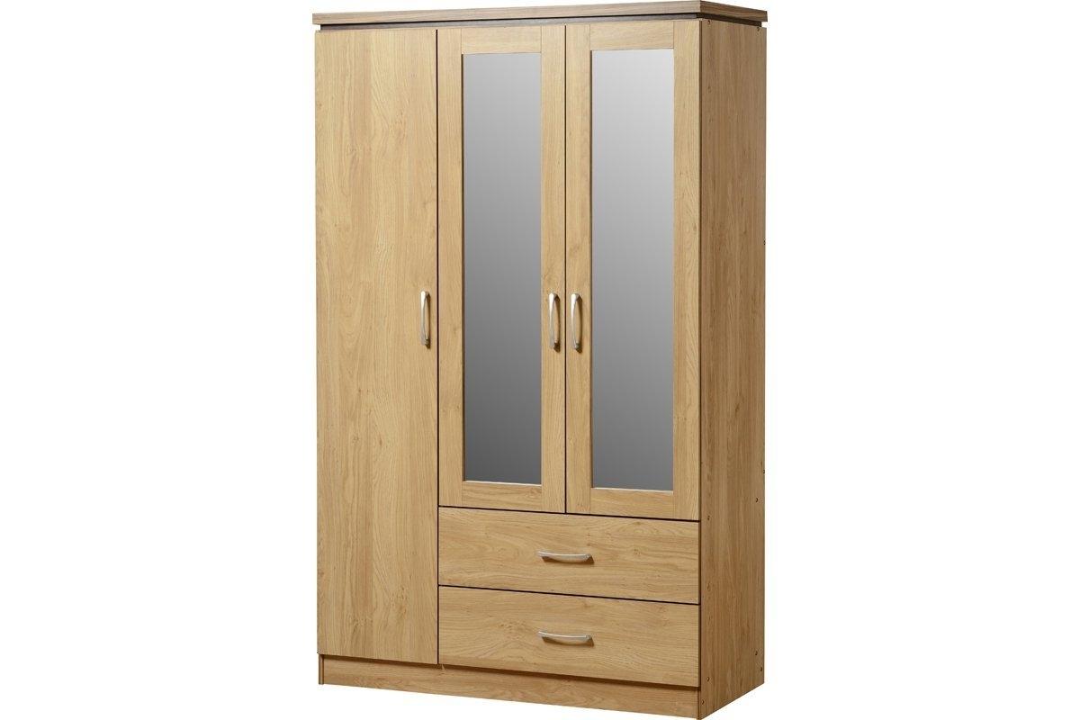 Well Known Oak 3 Door Wardrobes Regarding Charles 3 Door Wardrobe 2 Drawers Oak And Walnut: Amazon.co (View 15 of 15)