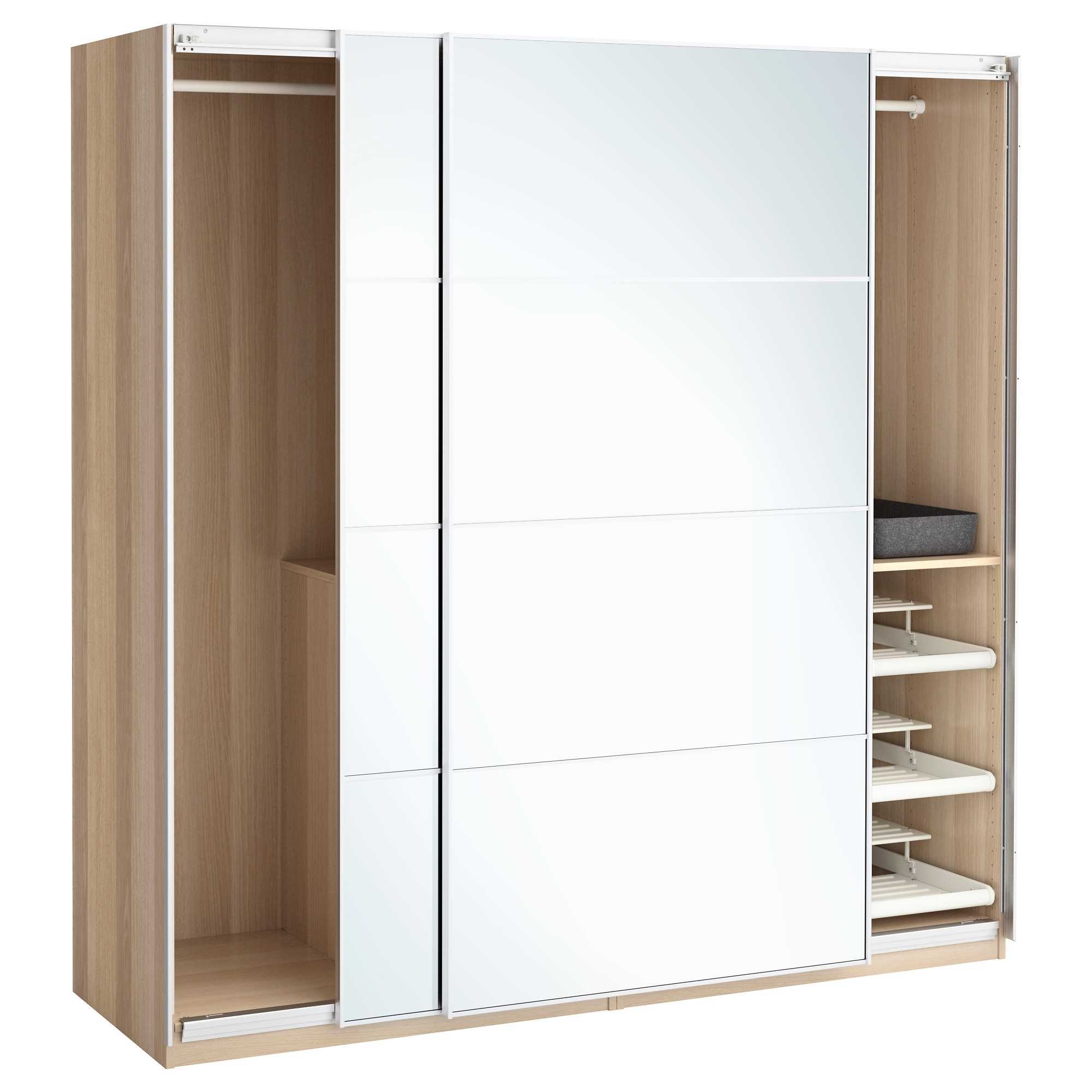 Well Known Oak And White Wardrobes Within Pax Wardrobe White Stained Oak Effect/auli Mirror Glass 200x66x (View 4 of 15)