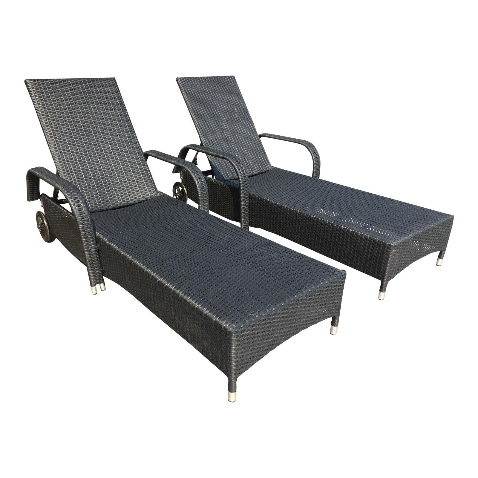 Well Known Outdoor Chaises With New Morgan Design – Pair Of Outdoor Chaises Brown Frames + White (View 4 of 15)