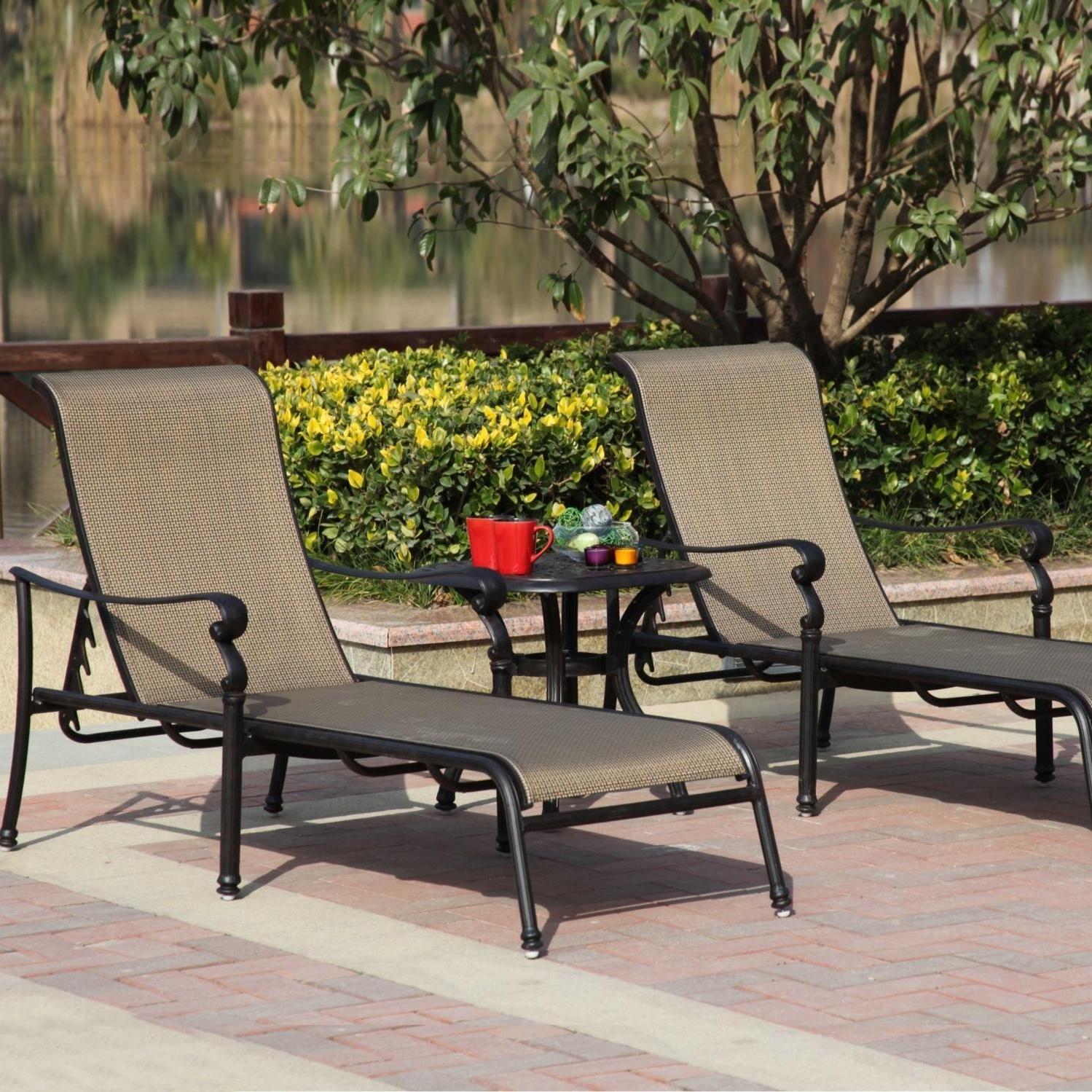 Well Known Patio Chaise Lounges For Darlee Monterey 3 Piece Sling Patio Chaise Lounge Set : Ultimate Patio (View 15 of 15)