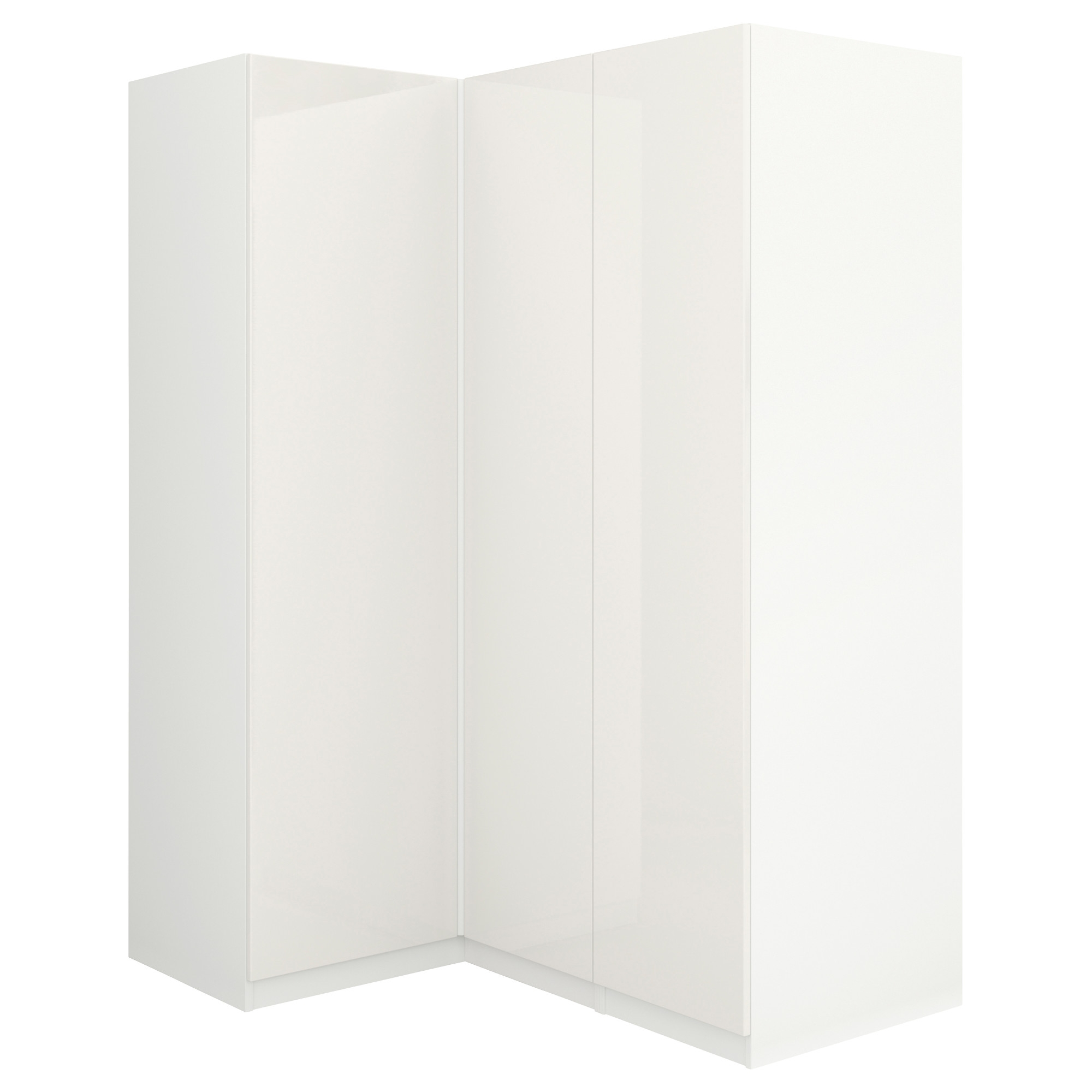 Well Known Pax Corner Wardrobe White/fardal High Gloss/white 160/111X201 Cm Throughout White Gloss Corner Wardrobes (View 9 of 15)