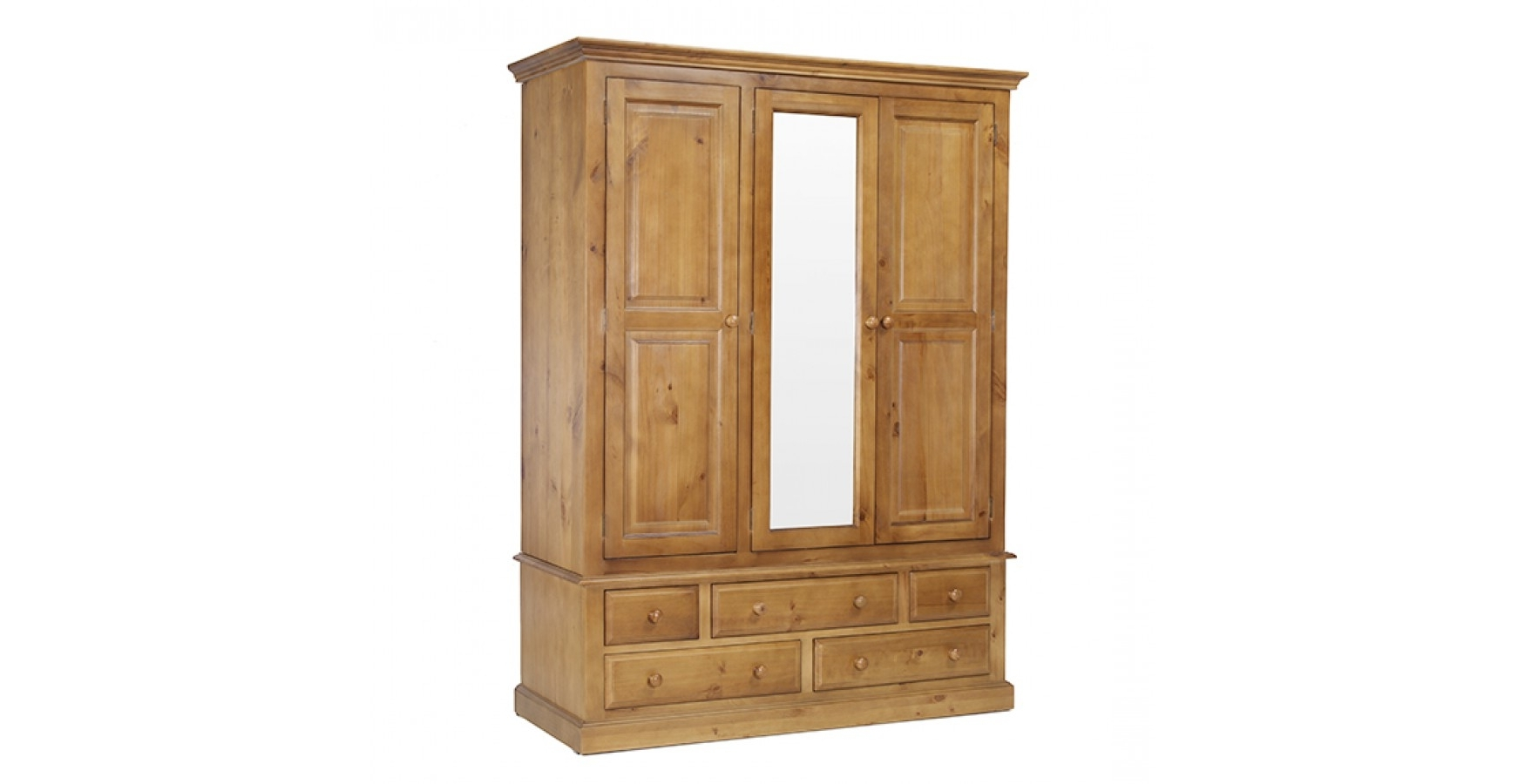 Well Known Pine Wardrobes With Drawers With Regard To Country Pine Triple Wardrobe With Drawers – Lifestyle Furniture Uk (View 15 of 15)