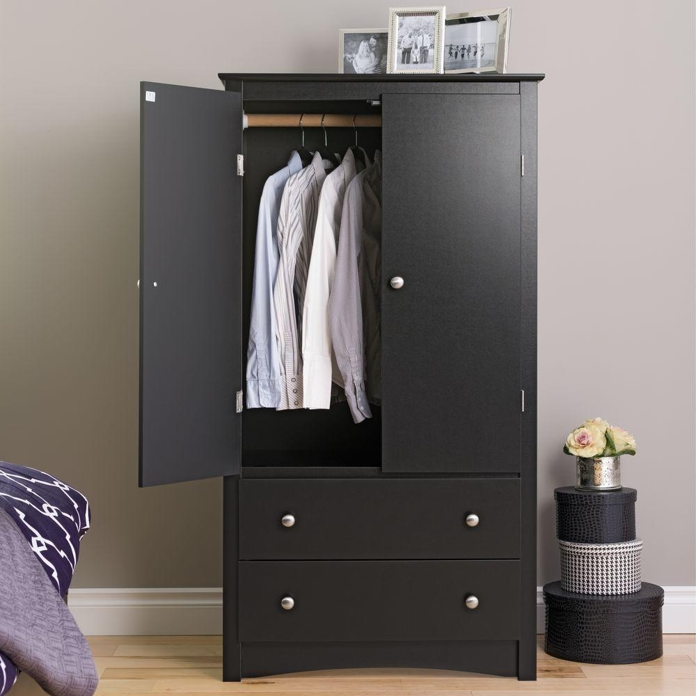 Well Known Prepac Sonoma Black Armoire Bdc 3359 K – The Home Depot For Black Wardrobes With Drawers (View 4 of 15)