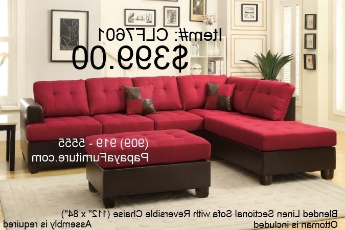 Well Known Red Sectional Sofas With Ottoman Intended For Carmine Red Sectional Sofa With Reversible Chaise And Ottoman Set (View 6 of 10)