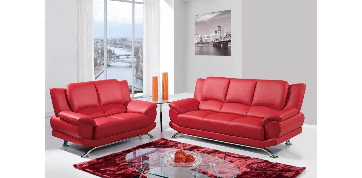 Well Known Red Sofa Chairs With Leather Sofa Set Of 3Pc Red U9908 R Global Furniture (View 9 of 10)