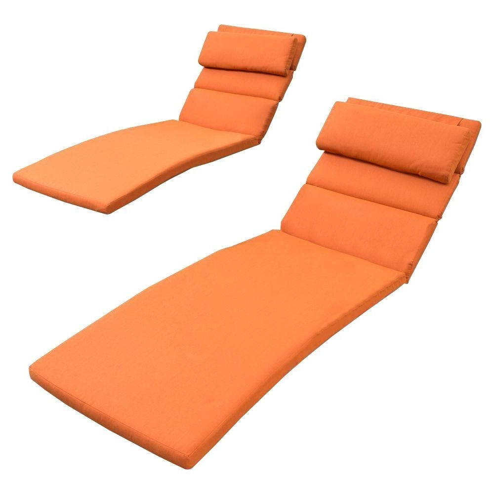 Well Known Rst Brands Tikka Orange Outdoor Chaise Lounge Cushions (Set Of 2 Intended For Chaise Lounge Cushions (View 13 of 15)